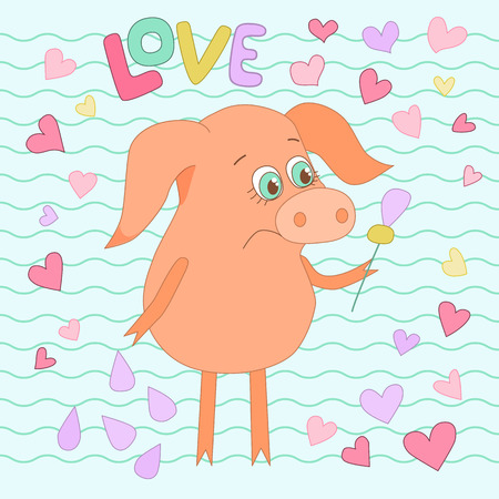 oink: Sad pig with a flower in a hand. Cute piggy in cartoon style on backgraund from wavy lines and hearts. Word love is hand drawn Illustration
