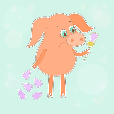 oink: Sad pig with a flower in a hand. Cute piggy in cartoon style on blue background with circles and hearts