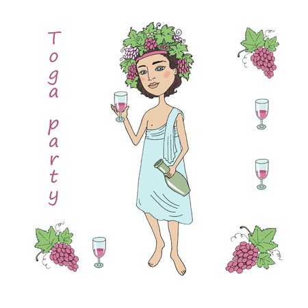 toga: God of wine Bacchus with a glass of wine in hand. Invitation to toga party. The beautiful young man with a wreath from grapes on the head on a white background. Cartoon style.