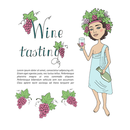 toga: God of wine Bacchus with a glass of wine in hand. Invitation to wine tasting, toga party. The beautiful young man with a wreath from grapes on the head on a white background. Cartoon style. Illustration