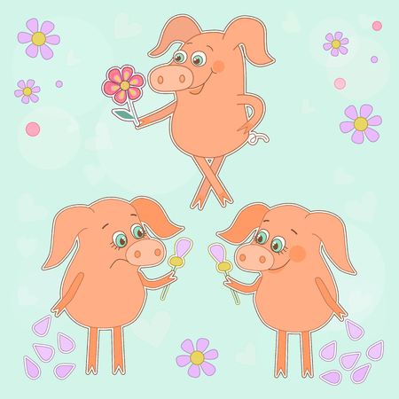 oink: Three cute cartoon stickers. Happy pig with a flower in a hand. Sad piggy. Lovely piggys in cartoon style on blue background with flowers and hearts Illustration