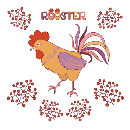 Cute cock with berries on a white background. Illustration in flat style. Rooster symbol of Chinese New Year Illustration