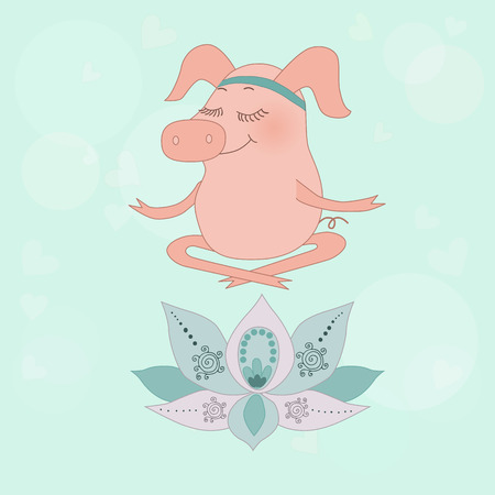 oink: The lovely happy pig blindly sits in a lotus pose, meditation. Fine flower of a lotus. Cute cartoon pigglet on blue background with circles and hearts
