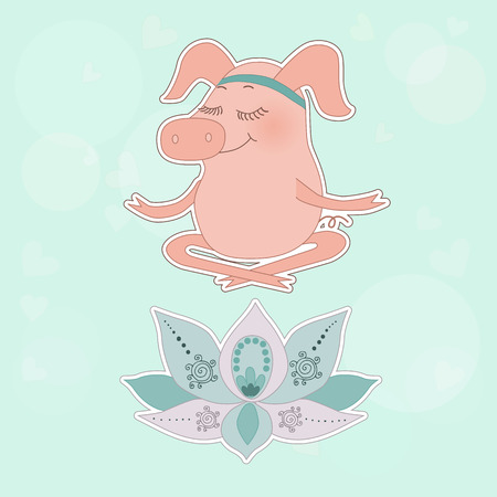 The lovely happy pig blindly sits in a lotus pose, meditation. Fine flower of a lotus. Cute cartoon pig sticker on blue background with circles and hearts