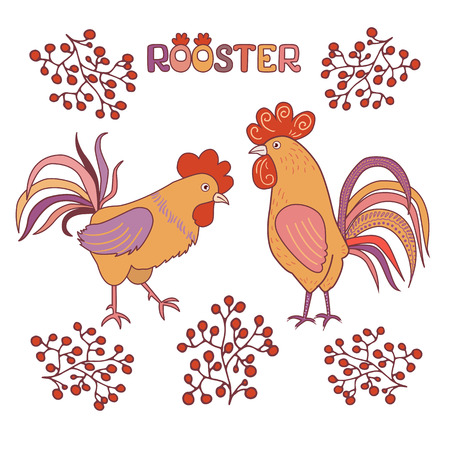 Two cute rooster with berries on a white background. Illustration in cartoon style. Rooster symbol of Chinese New Year Illustration