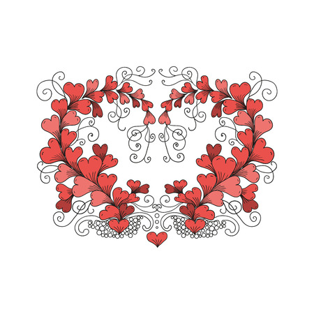hand drawn ornate floral pattern heart consists of hearts in style on white background. Valentines day illustration Illustration