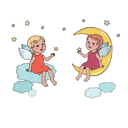 One cute Angel baby sitting on clouds and other nice Angel baby sitting on the moon. illustration in cartoon style on white background.