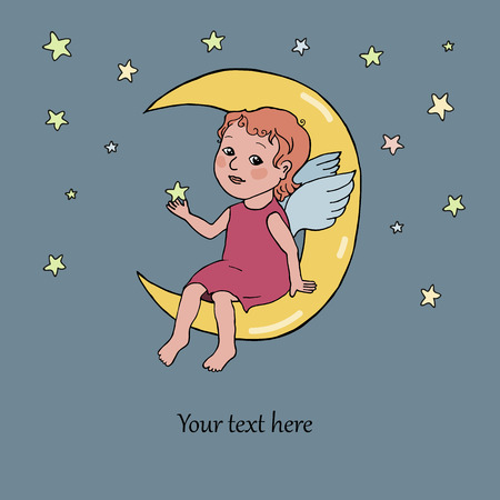 Angel baby sitting on the moon. Cute illustration in cartoon style on dark background with stars. Place for your text