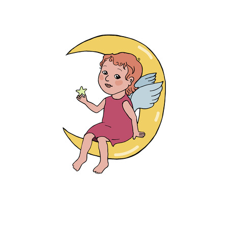 Angel baby sitting on the moon. Cute illustration in cartoon style on white background.