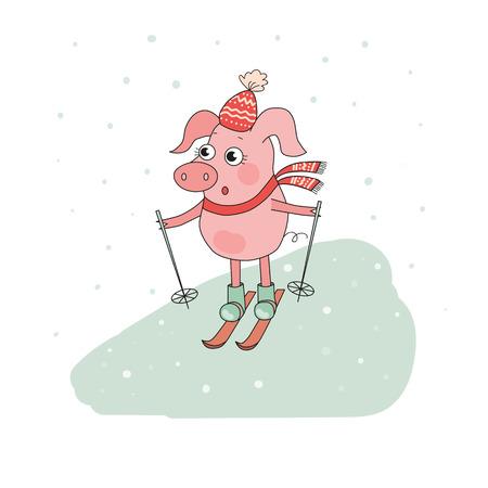 montañas caricatura: Cute Pig Skier. Lovely cartoon Character