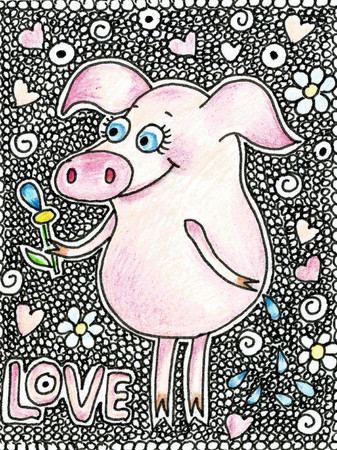 oink: Happy pig with a flower in a hand. Cute piggy in cartoon style on white backgraund with hearts. Stock Photo