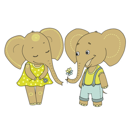 Couple cute elephants fallen in love. Vector funny illustration on white background for Valentines Day, wedding design, scrapbook, gift wrapping paper, textiles. Cartoon style.