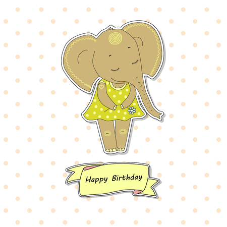Cute elephant girl standing with flower. Funny vector illustration on white background with pink peas. Lovely crafted design for postcards and prints. Ribbon - Happy Birthday Illustration