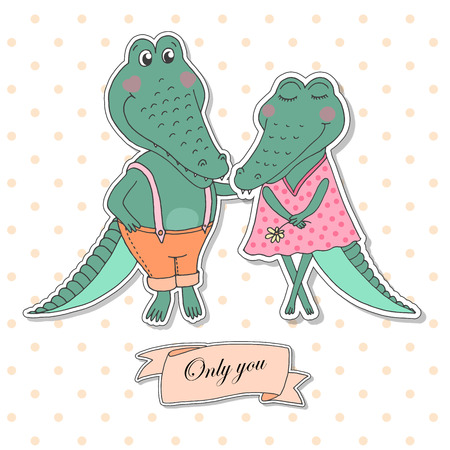 Two cute crocodiles fallen in love. Lovely alligators on white background with pink peas. Lovely crafted design for Valentines Day, wedding, postcards and prints. Ribbon - Only you