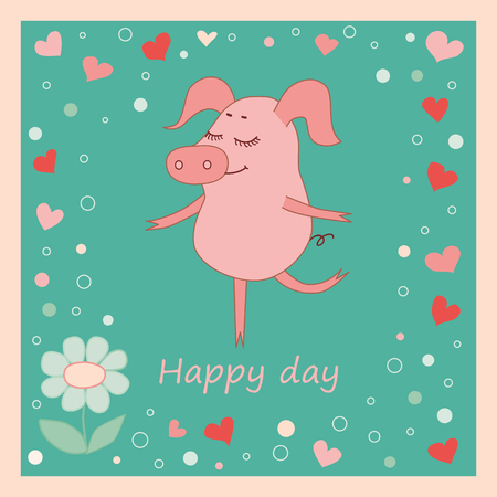 Happy pig with a flower in a hand. Cute cartoon pig sticker