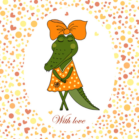 Cute crocodile girl in dress with a flower in a hand