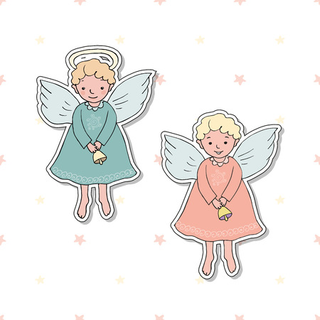 Cute Christmas angel with bell in cartoon style