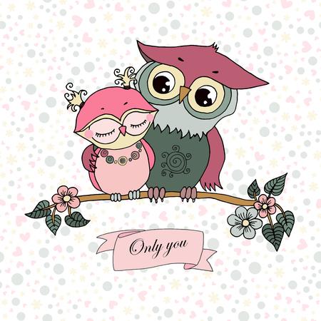 Two cute owls fallen in love Illustration