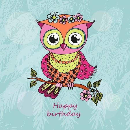 Cute colorful cartoon owl sitting on tree branch
