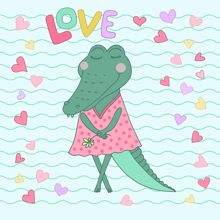 Crocodile girl with closed eyes having flower in her hand