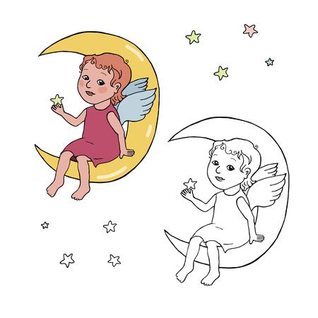 Angel baby sitting on the moon. Illustration