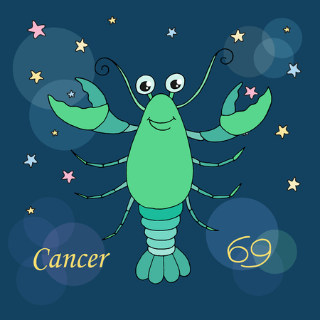 sign: Cancer zodiac sign on night sky background with stars