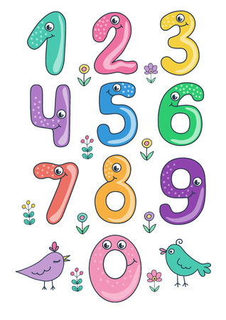 Set of cute and funny colorful smiling number characters from 0 to 9 Illustration