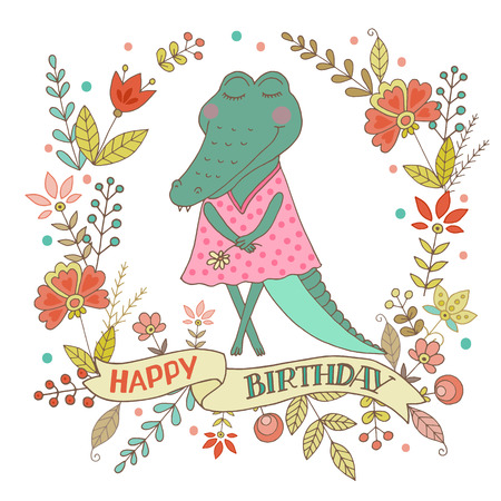 Cute alligator with vintage frame for your design in doodle style. The phrase on a ribbon: Happy birthday. Cartoon illustration for wedding invitations and romantic cards, birthday and other holiday.
