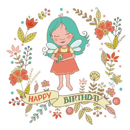 Cute fairy girl and bird with vintage frame of flowers. The phrase on a ribbon: Happy birthday. Cartoon illustration for wedding invitations and romantic cards, birthday and other holiday.