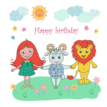 Cute lion, girl and sheep. Can be used for birthday cards, baby announcement, invitations. Cartoon vector illustration on white background. Illustration