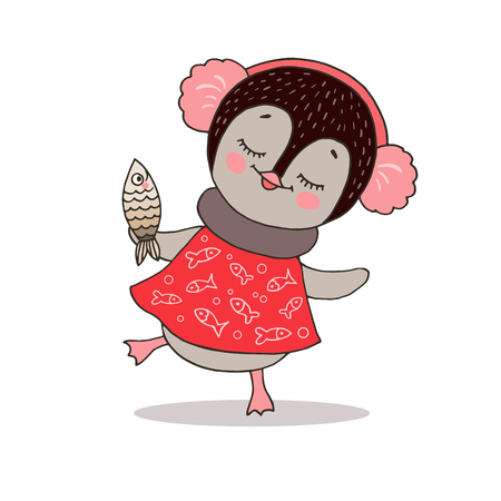 Cute dancing little penguin girl in red dress with ear muffs. Illustration