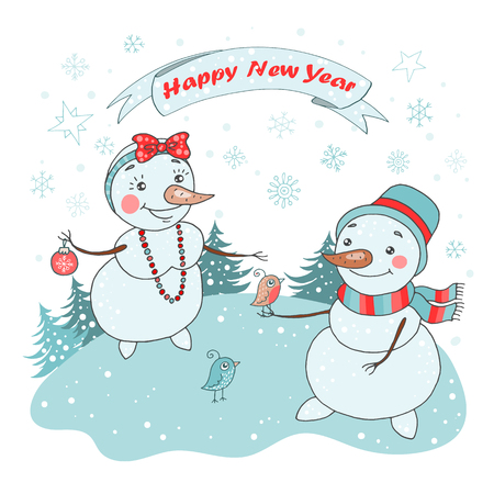 Christmas Greeting Card with cute couple snowman, birds and snowflakes Illustration