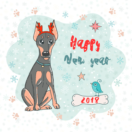 Christmas and Happy New year card with doberman dog wearing deer horn rim and cute bird