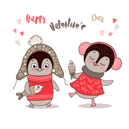 Two cute penguins fallen in love. Funny birds got dressed in warm clothes with fish on white background. Illustration