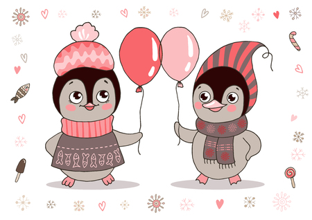 Rwo cute little penguins in warm clothes with balloon. Illustration on white background with lovely frame made of snowflake.
