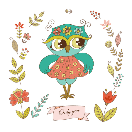 Cute owl with vintage frame for your design in doodle style. Cartoon illustration for wedding invitations and romantic cards, birthday and other holiday. Illustration