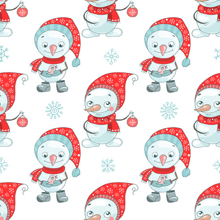 Christmas seamless pattern with cute snowman and snowflake Illustration