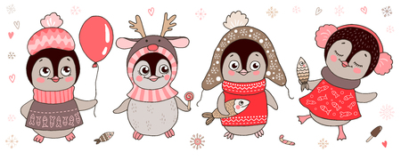 Four cute little penguins girl Illustration