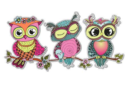 girl sleep: Three cute colorful cartoon owls sitting on tree branch.