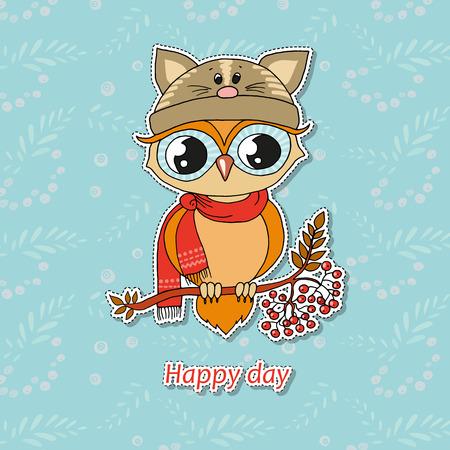 Cute colorful owl in hat sitting on rowan tree.