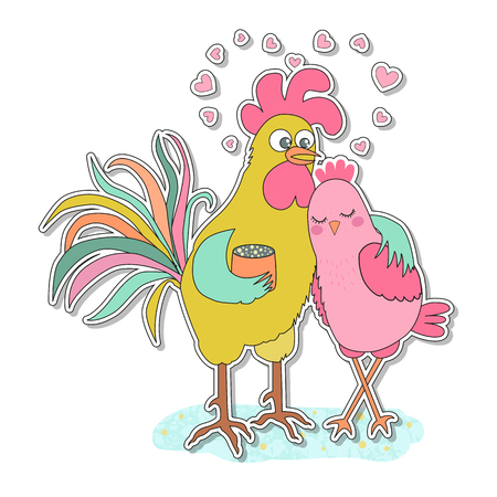 Cute rooster and hen sticker.