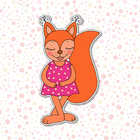 Cute colorful cartoon squirrel in pink dress