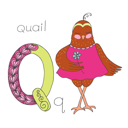 Cute quail with closed eyes in pink dress Illustration