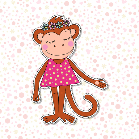 Cute colorful cartoon monkey in pink dress