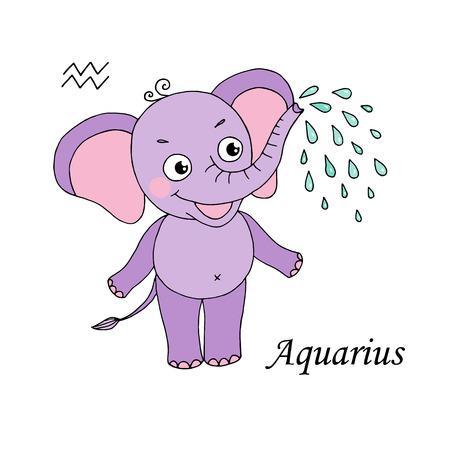 Aquarius zodiac sign on white background