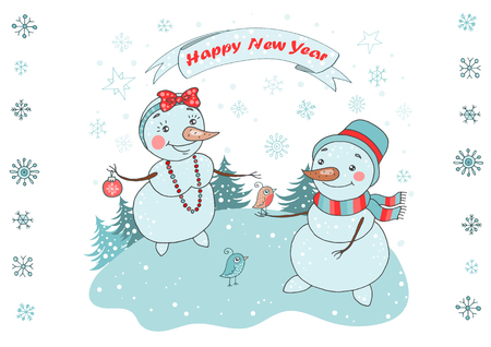 Christmas Greeting Card with cute couple snowman and birds