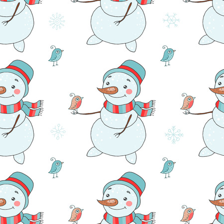 Christmas seamless pattern with cute snowman