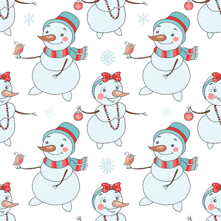 Christmas seamless pattern with cute couple snowmen Illustration
