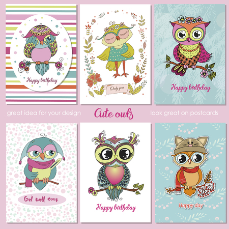 Set of 6 lovely postcards with cute owls. Stock Illustratie