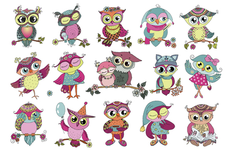 Set of 16 cute colorful cartoon owls